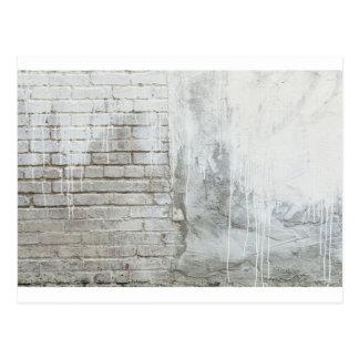 Brick Texture White Paint Dripping Grunge Postcard