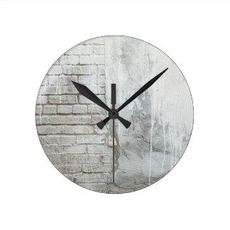 Brick Texture White Paint Dripping Grunge Round Clock