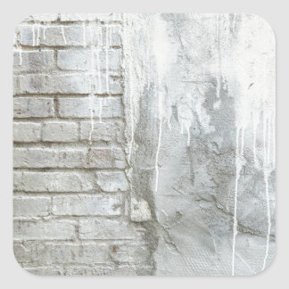 Brick Texture White Paint Dripping Grunge Square Sticker