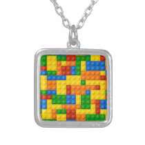 Brick toy mosaic silver plated necklace