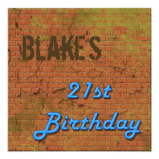 Brick Wall 21st Birthday Invitation