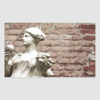 Brick Wall and Statue of Woman Rectangle Stickers