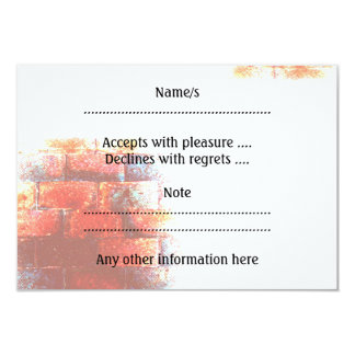 Brick Wall and White Space. Digital Art. 3.5x5 Paper Invitation Card