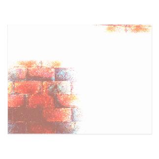 Brick Wall and White Space. Digital Art. Postcard