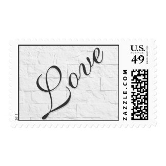 Brick Wall Attractive Script Love Wedding Postage