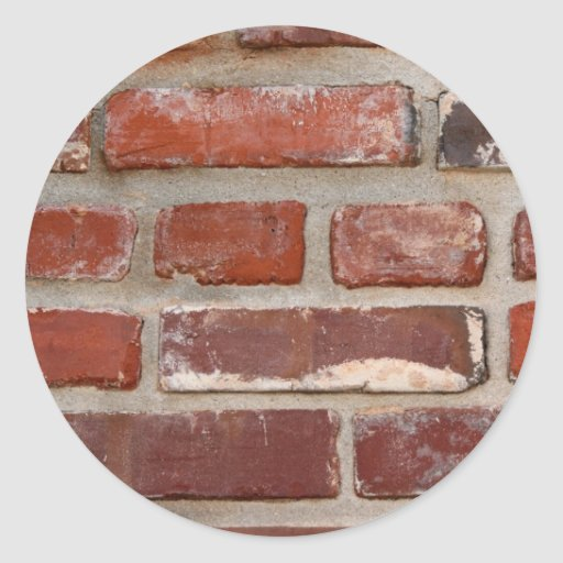 Brick wall brick texture customize the words round stickers