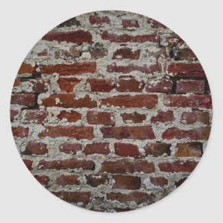 Brick wall classic round sticker