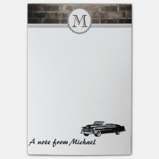 Brick wall classy old car monogram post-it® notes