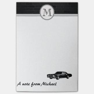 Brick wall classy old car monogram post-it® notes