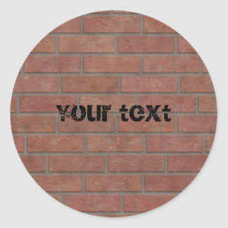 Brick wall design classic round sticker
