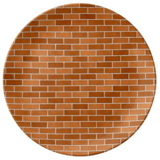 Brick wall design porcelain plate