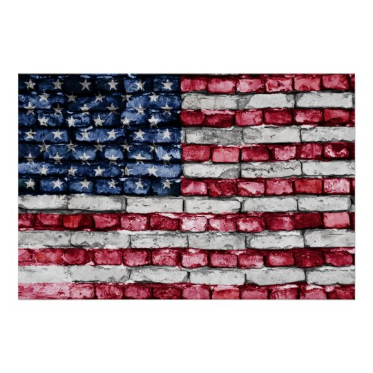 Brick wall flag of the United States of America Poster