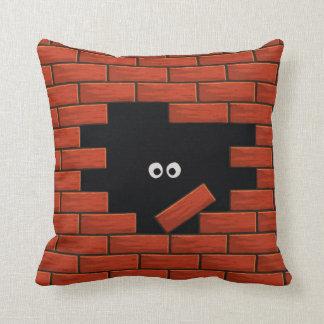 Brick Wall Funny Cartoon Eyes pillow