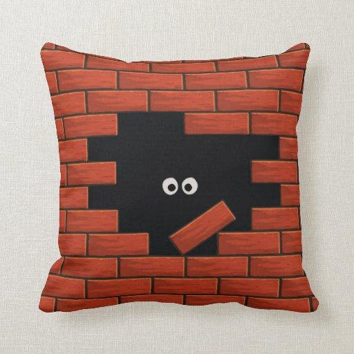 Brick Wall Funny Cartoon Eyes Pillow Zazzle