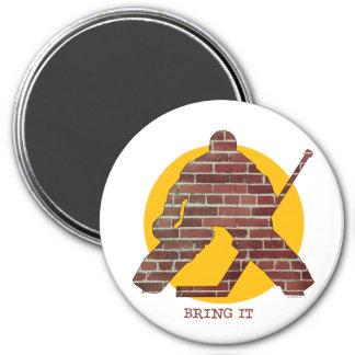 Brick Wall Goalie 3 Inch Round Magnet