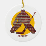 Brick Wall Goalie Double-Sided Ceramic Round Christmas Ornament