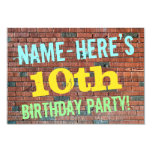 [ Thumbnail: Brick Wall Graffiti Inspired 10th Birthday + Name Invitation ]