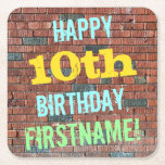 [ Thumbnail: Brick Wall Graffiti Inspired 10th Birthday + Name Paper Coaster ]