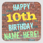 [ Thumbnail: Brick Wall Graffiti Inspired 10th Birthday + Name Sticker ]