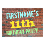 [ Thumbnail: Brick Wall Graffiti Inspired 11th Birthday + Name Invitation ]