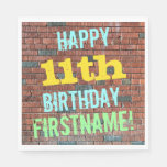 [ Thumbnail: Brick Wall Graffiti Inspired 11th Birthday + Name Napkin ]