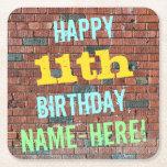 [ Thumbnail: Brick Wall Graffiti Inspired 11th Birthday + Name Paper Coaster ]