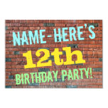 [ Thumbnail: Brick Wall Graffiti Inspired 12th Birthday + Name Invitation ]