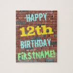 [ Thumbnail: Brick Wall Graffiti Inspired 12th Birthday + Name Jigsaw Puzzle ]