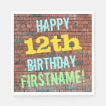 [ Thumbnail: Brick Wall Graffiti Inspired 12th Birthday + Name Paper Napkin ]