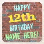 [ Thumbnail: Brick Wall Graffiti Inspired 12th Birthday + Name Paper Coaster ]