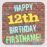 [ Thumbnail: Brick Wall Graffiti Inspired 12th Birthday + Name Sticker ]