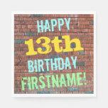 [ Thumbnail: Brick Wall Graffiti Inspired 13th Birthday + Name Napkin ]