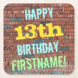 [ Thumbnail: Brick Wall Graffiti Inspired 13th Birthday + Name Paper Coaster ]