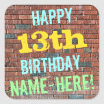 [ Thumbnail: Brick Wall Graffiti Inspired 13th Birthday + Name Sticker ]