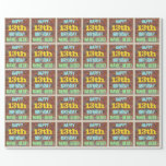 [ Thumbnail: Brick Wall Graffiti Inspired 13th Birthday + Name Wrapping Paper ]