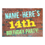 [ Thumbnail: Brick Wall Graffiti Inspired 14th Birthday + Name Invitation ]