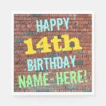 [ Thumbnail: Brick Wall Graffiti Inspired 14th Birthday + Name Paper Napkin ]