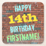 [ Thumbnail: Brick Wall Graffiti Inspired 14th Birthday + Name Paper Coaster ]