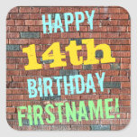 [ Thumbnail: Brick Wall Graffiti Inspired 14th Birthday + Name Sticker ]