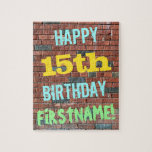 [ Thumbnail: Brick Wall Graffiti Inspired 15th Birthday + Name Jigsaw Puzzle ]