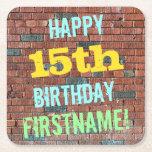 [ Thumbnail: Brick Wall Graffiti Inspired 15th Birthday + Name Paper Coaster ]