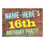 [ Thumbnail: Brick Wall Graffiti Inspired 16th Birthday + Name Invitation ]