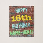 [ Thumbnail: Brick Wall Graffiti Inspired 16th Birthday + Name Jigsaw Puzzle ]