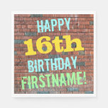 [ Thumbnail: Brick Wall Graffiti Inspired 16th Birthday + Name Paper Napkin ]