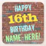 [ Thumbnail: Brick Wall Graffiti Inspired 16th Birthday + Name Paper Coaster ]