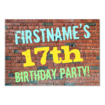 [ Thumbnail: Brick Wall Graffiti Inspired 17th Birthday + Name Invitation ]