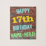 [ Thumbnail: Brick Wall Graffiti Inspired 17th Birthday + Name Jigsaw Puzzle ]