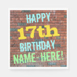 [ Thumbnail: Brick Wall Graffiti Inspired 17th Birthday + Name Paper Napkin ]