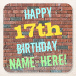 [ Thumbnail: Brick Wall Graffiti Inspired 17th Birthday + Name Paper Coaster ]