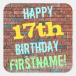 [ Thumbnail: Brick Wall Graffiti Inspired 17th Birthday + Name Sticker ]